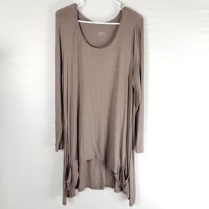 LOGO by Lori Goldstein tunic top L brown scoop nec